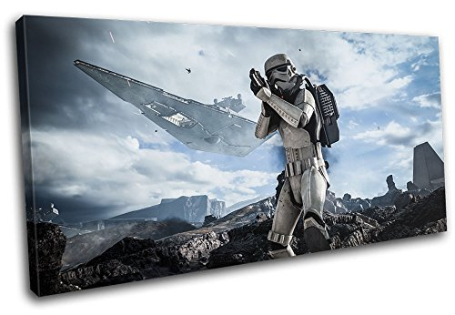 Bold Bloc Design - Star Wars Battlefront Gaming 180x90cm Single Canvas Art Print Box Framed Picture Wall Hanging - Hand Made in The UK - Framed and Ready to Hang