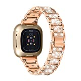 MEFEO Bling Bands Compatible with Fitbit Versa 3/ Fitbit Sense for Women, Replacement Meta...