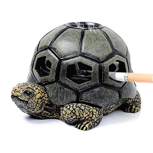 Creativo Resina Tortuga Humo Cigarrillo cenicero Bandeja artesanía decoración cenicero para el hogar al Aire Libre Oficina Coche Novio Regalo decoración del hogar-Verde (Color : Green)