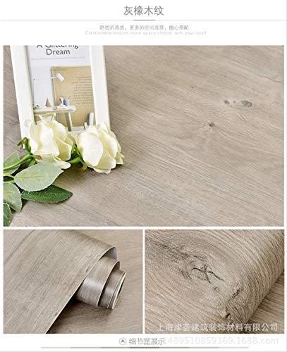 Drei wasserdichte PVC-Holzmaserung Möbel Renovierungsaufkleber Selbstklebende Tapete Kleiderschrank Tür Dekoration Boeing Film 60Cm × 10M Graueiche