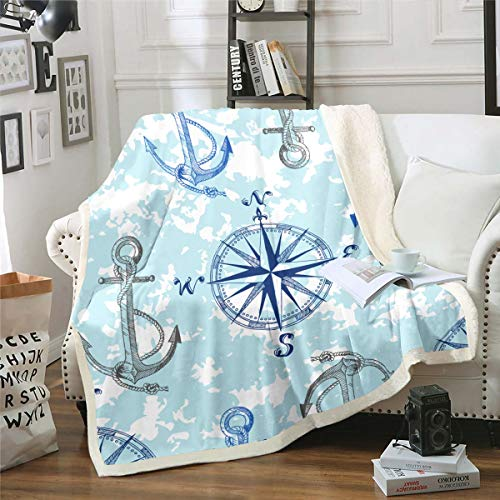 Anchor Decor Sherpa Blanket Nautical Compass Blanket for Bed Couch Travel Sofa Ocean Marine Themed...