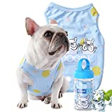 AZLZM Summer Cooling Pet Clothes Outdoor Fat Dog Vest Shirt Clothes for Dogs Vest French Bulldog Clothing for Dogs Cooling Costume Pug,Blue,L