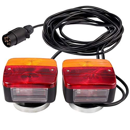 Neoteck Anhänger Licht Set Anhängerbeleuchtung 12V Rückleuchten-Set mit Magnet, 7,5m Kabel, europäischem Stecker, 7-poligem Stecker, Anhänger Rücklicht für Straßenverkehr zugelassen, Anhänger, LKW