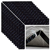 24 Pcs Rug Grippers,Premium Double Sided Non Skid Rug Pad Stick Tape,Reusable No Curling Rug Tape to Fix Rugs,Washable Rug Tape for Hardwood Floors, Tile Floors, Carpets, Floor Mats, Wall (Black)