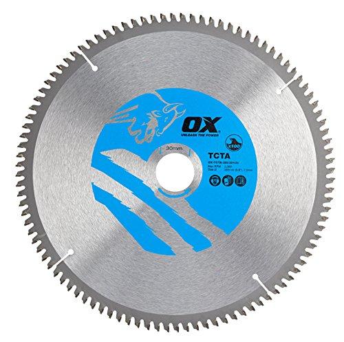 OX Tools OX-TCTA-25030100 OX Hoja de Sierra Circular de Corte de Aluminio/plástico/Laminado Dientes, 0 V, Silver/Blue, 250/30mm, 100 Teeth TCG