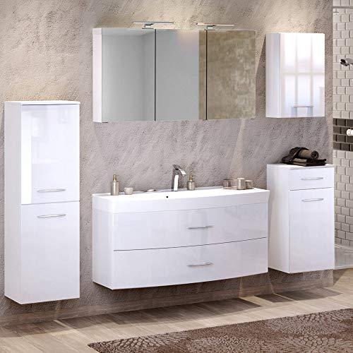 Lomadox Badmöbel Set in Hochglanz weiß ● 120cm Waschtisch mit Unterschrank inkl. Waschbecken ● 3D Spiegelschrank mit 2 LED-Leuchten & Steckdose ● Midischrank, Unterschrank & Hängeschrank