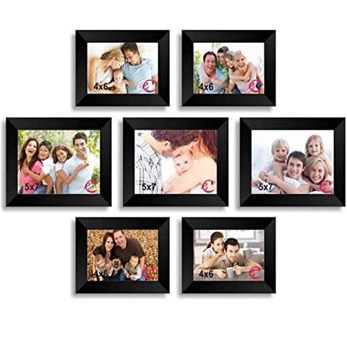 MomsCreations Set of 7 Individual Black Wall Photo Frames || Mix Size || 5 * 7 inch 4 * 6 inch