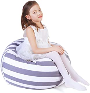 Stuffed Animal Storage Bean Bag Chair, Bean Bag Cover for Organizing Kid's Room - Fits a Lot of Stuffed Animals, Large/Gray Stripe