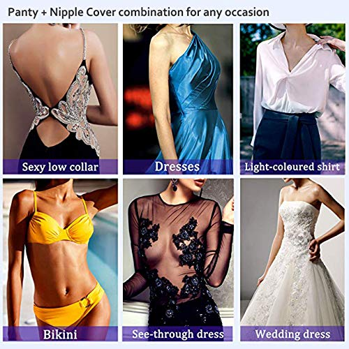 Avivnor Womens Invisible Panty Cat Pattern Self Adhesive Underwear Strapless Panties with Nipple Covers