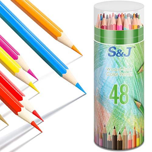 Farbstifte, Aquarell Buntstifte, Künstler Buntstifte vorgespitzt, Buntstifte Set mit 48 Verschiedenen Farben, Buntstifte Kinder Farbstifte Holzstifte Schulsachen für Erwachsene oder Kinder