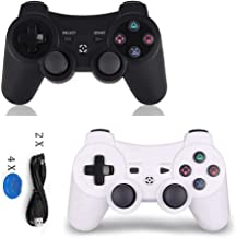 PS3 Controller Wireless 2 Pack - Dualshock 3 Remote for Playstation 3,DS3 Joystick with Sixaxis (White+Black)