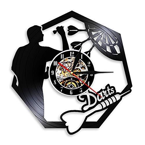 Vinyl-Wanduhr Schallplatte Wanduhr Darts Schallplatte Wanduhr Man Cave Spielzimmer Dekoration 3D Uhr Wanduhr Dartscheibe Pub Bar Darts Spiel Nachtclub Dekor
