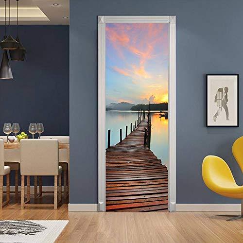 Mural de puerta extraíble, pegatina de puerta 3D, autoadhesivo, decoración de pared, oficina de dormitorio, decoración de la casa, puente de paisaje natural