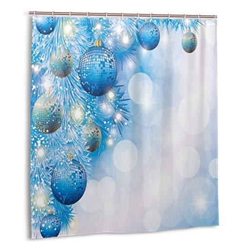 Cortina de Ducha Impermeable Vector de Tarjeta de Navidad Azul Cortinas baño con Ganchos Lavable a Máquina 62x72 Inch