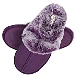 Jessica Simpson Women's Comfy Faux Fur House Slipper Scuff Memory Foam Slip on Anti-skid Sole, Purple, Large