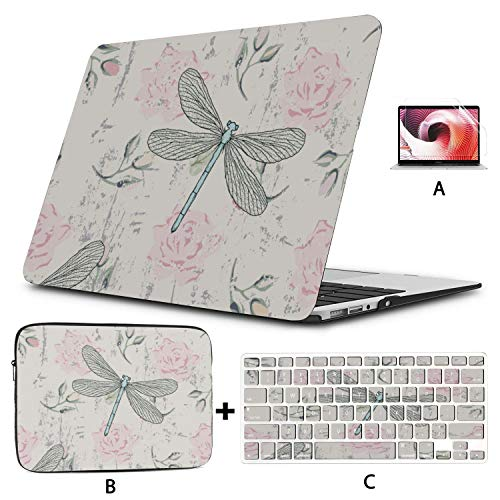 MacBook 2017 Case Dragonflies and Rose Light Blue Leaves MacBook Air Laptop Case Hard Shell Mac Air 11'/13' Pro 13'/15'/16' with Notebook Sleeve Bag for MacBook 2008-2020 Version