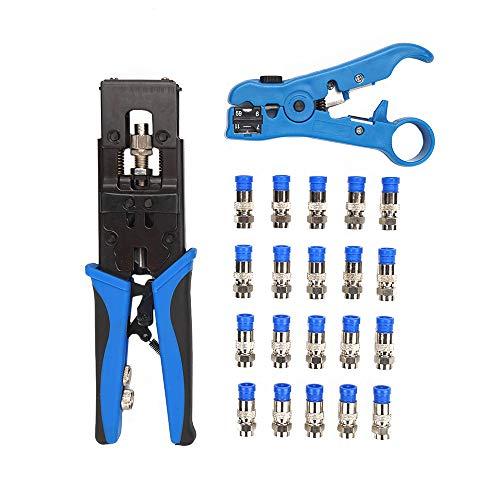 Multifunktions BNC RCA Crimpzangen Aderendhülsen Set und Abisolierzange mit 20 Stücke F Stecker Set Crimp Tool Kit fur Netzwerk Werkzeug für Home Office Koaxialkabel Netzwerkkabel UTP STP