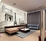 Mural,Papel Tapiz Mural 4D Personalizado,Torre Eiffel Paris Notre Dame Arte Mural Casa Salón Dormitorio Fresco Foto,Tv Sofá De Seda De Fondo La Pintura De La Pared Wall Papers Poster Imagen,260Cm(H