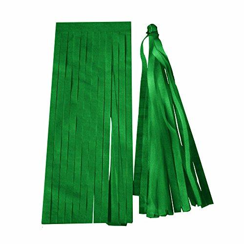 AOTUOTECH- 5 piezas de papel de seda, guirnalda de borla para fiestas, suministros para baby shower para colgar decoraciones, verde oscuro, 12cm*35cm