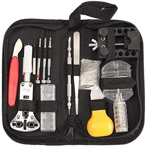 FMOGE Werkzeugsatz zum Ersetzen der Uhrenbatterie 144 Stück/Satz Uhrenreparatursätze mit Aufbewahrungsbeutelhalter, transparenter Link-Pin-Make-up-Entferner
