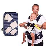 Riñonera bebé con cambiador portátil mochila portabebé para niños mochila bebé 3 bolsillos ajustable frontal mundo multifuncional ergonómico 0-36 meses seguro ligero transpirable 100% algodón 3-18 kg