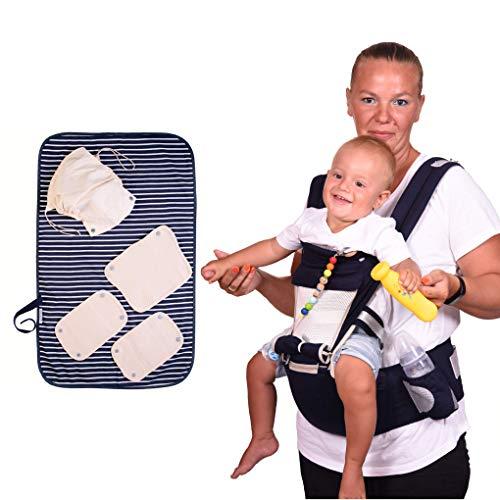 Marsupio Neonati Ergonomico Con Sedile E Fasciatoio Portatile Puro Cotone Leggero E Traspirante Per Bambini Grandi 0-36 Mesi Fascia Porta Bebè Regolabile Multiposizione Dorsale Bimbi Pesanti 3,5-20 kg