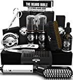 Beard Straightener Grooming Kit for Men, Beard Brush, Double Side Comb, Unscented Oil, All Natural Chanel Balm, Shampoo, Conditioner, Razor & Scissors, Perfect Gifts for Dad & Husband