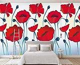 Tapete 3D Einfache Frische Handbemalte Rote Blumen Moderne Wohnzimmer Schlafzimmer Großes Wandbild Wanddekoration-430cmx300cm Fototapete - Vlies - Wandsticker - Plakatdekoration