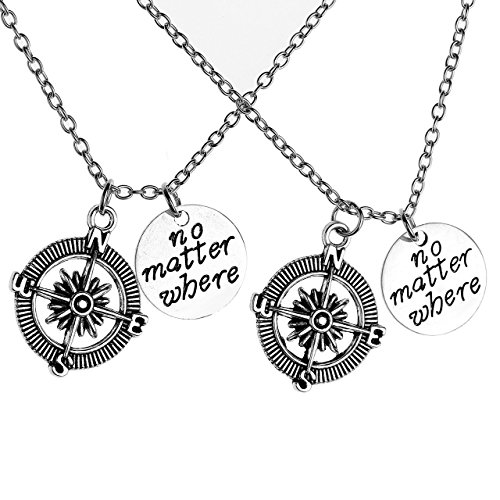 JOVIVI 2pcs Best Friend Friendship Necklace No Matter Where Compass Charm BFF Necklaces for Women Couples Gifts
