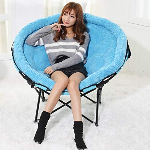 WJJJ Möbel Mond Klappstuhl Outdoor Camping Stuhl für die Erholung ohne Getränkehalter Gepolsterte Faltbare Stahlrahmen Tragbare (Farbe: Blau)