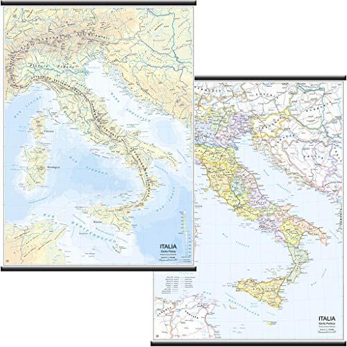 Italia Carta Murale Scolastica Bifacciale [Fisica/Politica] [97x134 cm] Belletti