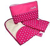 Wickelset für Unterwegs Sterne pink mit Wickelunterlage und Tasche mit Name - Personalisierte Wickeltasche mit Wickelunterlage