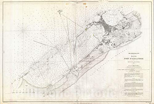 Historic Map - Depot de la Marine Nautical Chart or Map of Alexandria, Egypt, 1867 - Vintage Wall Art - 16in x 24in