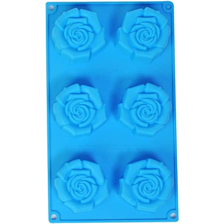 Grizzly® 1 Pc Silicone 6 Cavity, Rose Shape Cake Mould Chocolate Soap Mould Baking Mould Soap Making Candle Craft (Rose Mould)