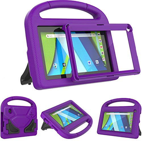 AVAWO Kids Case for RCA Voyager 7 Tablet, RCA Voyager 7 inch tablet case - With Built-in Screen Protector - Shockproof Light Weight Stand Case for 7inch RCA Voyager I/II/III/Pro Android Tablet, Purple