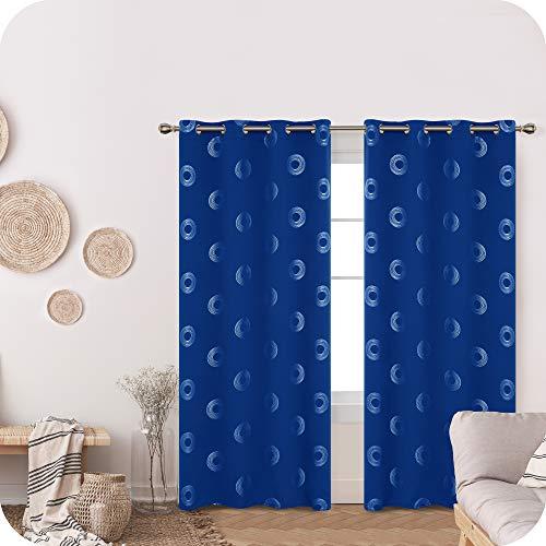 Amazon Brand – Umi Cortinas Salon Opaca de Dibujos Rquillos con Ollaos 2 Piezas 140x240cm Azul Oscuro