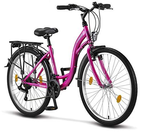 Licorne Bicicletta olandese Stella Bike, city bike da 24,26 e 28 pollici, adatta sia a uomini che a donne, con cambio Shimano a 21 marce, Bambina Donna, Colore: rosa., 24