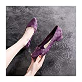 DSMGLRBGZ Botas Lluvia Mujer 36-40 Moda Hidrófugo Antideslizante Caucho Chanclos Superficial Adulto Zapatos De Agua Sandalias De Tacón Bajo,Púrpura,38