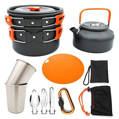 Juego de utensilios de cocina para acampar al aire libre, olla de tetera y taza de picnic portátil (color naranja)