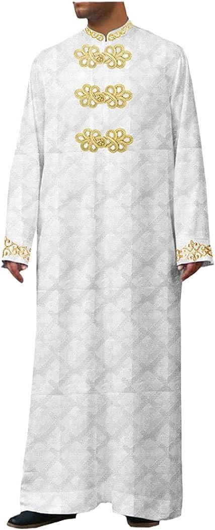 RFXZSAQD Men's Single Breasted Loose Casual Muslim Robes, Men's Arab Middle East Dress, Arabic Long Islamic Jubba Thobe