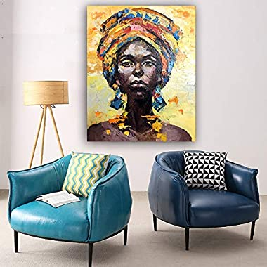 Faicai Art African American Woman Art Black Art Handmade Thick Textured Oil Paintings Canvas Wall Art for Living Room Bedroom