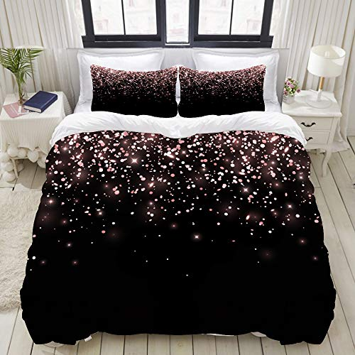 LIASDIVA DuvetCoverSet,Rose Gold Falling Glitter On Black, ColorfulDecorative3PieceBeddingSetwith2PillowShams, King Size