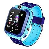 Niños Smartwatch Impermeable, Reloj inteligente Phone con LBS Tracker SOS Chat de voz Cámara Despertador Juego Cálculo para Regalos Estudiantes Compatible con iOS Android (02-LBS SOS Azul)