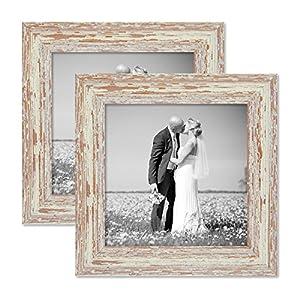 2er Set Bilderrahmen 20×20 cm Weiss Shabby-Chic Vintage Massivholz mit Glasscheibe und Zubehör / Fotorahmen / Nostalgierahmen