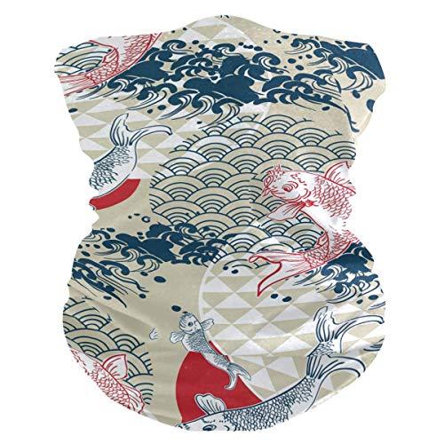 JONINOT Bufanda Multifuncional Diadema Japonesa Carpa pez Cuello Polaina Sombreros al Aire Libre Transpirable Sol Polvo Cara Bandana Cubierta