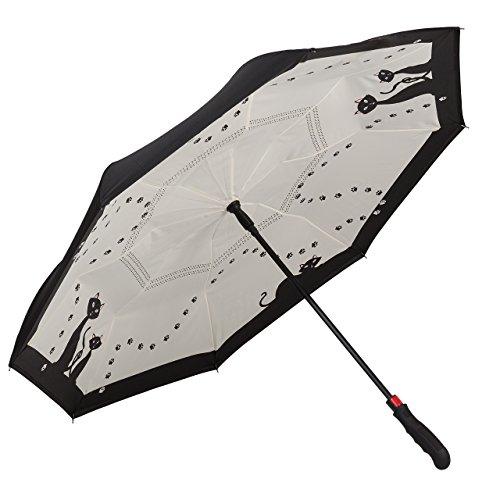 VON LILIENFELD Regenschirm Auf-Automatik Stabil Autofahrer Inverted Double-Layer Motiv Schwarze Katzen