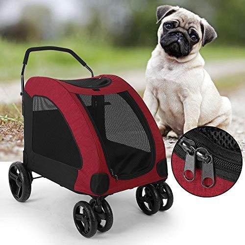 Cochecito para Perros Easy Walk, Carro de Viaje Plegable para Mascotas y Gatos con transportador Desmontable - Rojo