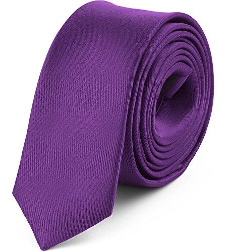Ladeheid Corbatas Estrechas Diversidad de Colores Accesorios Ropa Hombre SP-5 (150cm x 5cm, Púrpura Oscuro)