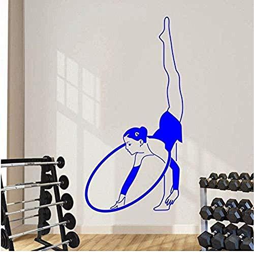 Pegatinas de Pared,Oman Hoop Gymnast Wall Decal Vinilo de gimnasio para dormitorio Decoración de arte Mural de pared de fitness Mural de pared extraíble 44X81Cm