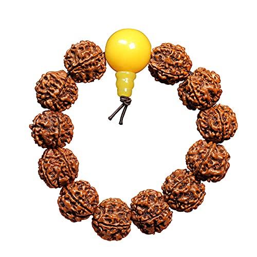 DONGYUCHUN Pulsera de oración de la Pulsera de Bodhi Natural de 18 mm Pulsera de Amuleto, Cadena de Mano del Brazalete versátil, Perlas de meditación de Yoga